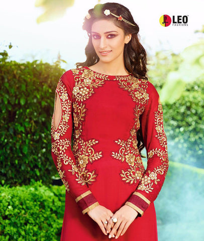 Red Georgette long salwar kameez with golden work