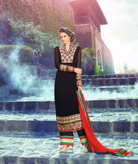 Black long salwar suits with work