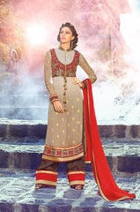 Beige straight long salwar kameez