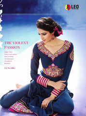 Blue long salwar suit