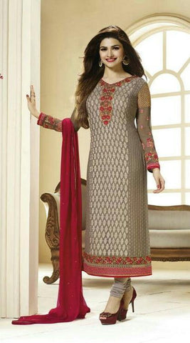 Designer straight knee length long embroidered salwar suits with maroon dupatta