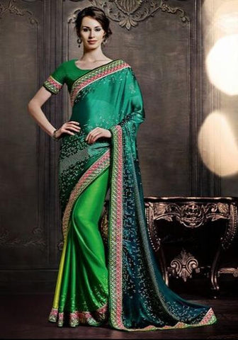 Designer Green Shade saree with zari and heavy lace border for women