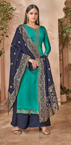 Blue Georgette With Silk Straight Salwar Suit With  Dupatta
