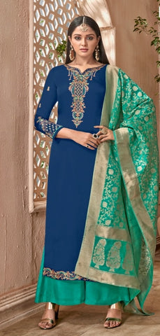 Blue Georgette With Silk Straight Suit With  Dupatta