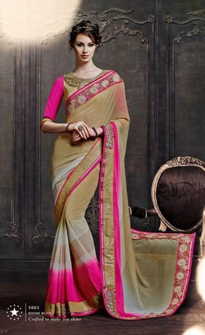 Designer Beige and Pink saree in multi shades for women