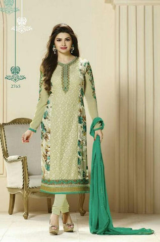 Green embroidered designer straight knee length long salwar suits