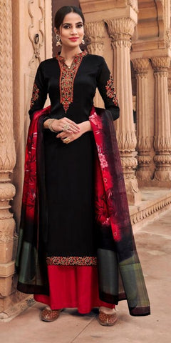 Black Georgette Party Wear Salwar Kameez With  Dupatta