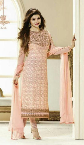 Peach designer long knee length straight salwar suits with embroidered work