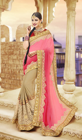 Pink And Beige Satin Crepe Saree With  Dhupian Blouse