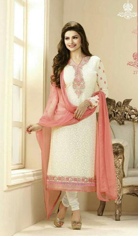 White and pink embroidered designer straight long salwar suits with chiffon dupatta