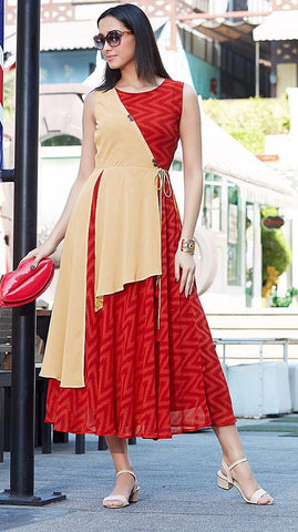 Beige Red Printed Sleeveless Kurti