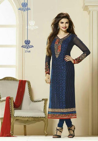 Designer blue straight knee length salwar suits with red dupatta