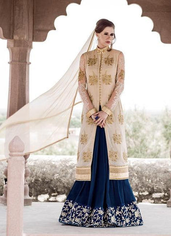 Beige & Blue,Georgette,Designer anarkali heavy suits heavy work embroidery