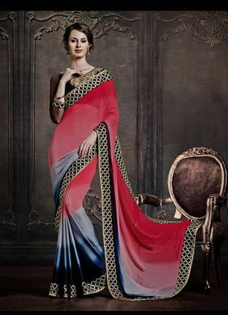 Shop designer red and grey crepe saree for women