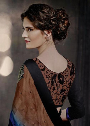 Designer Multi Shade brown and blue color saree with light patch for women
