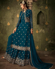 Cyan Georgette Party Wear Salwar Suit With  Dupatta