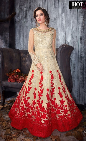 Beige and Red Net Gown Type Anarkali With Dupatta