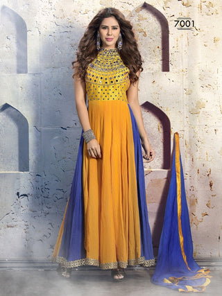 Yellow anarkali frock suits with blue dupatta