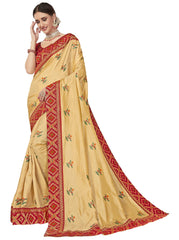 Gold Poly Silk Party Wear Saree With Red Blouse