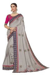Grey Poly Silk Party Wear Saree With Pink Blouse