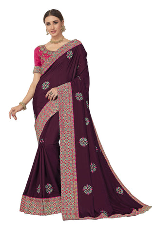 Burgundy Poly Silk Party Wear Saree With Pink Blouse