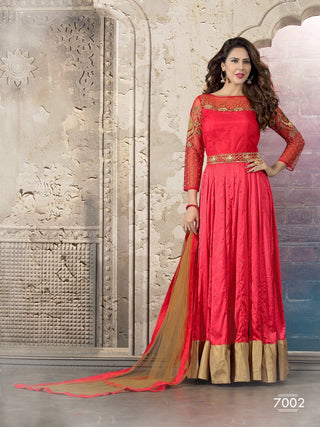 Red anarkali long floor length suits with moti and hand work