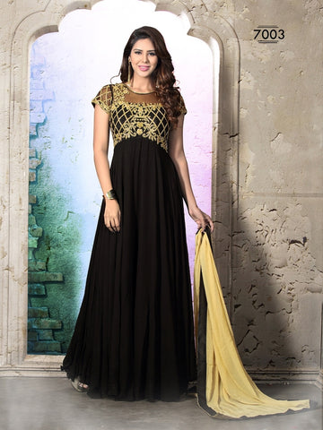 Black embroidered floor length suits with beige dupatta