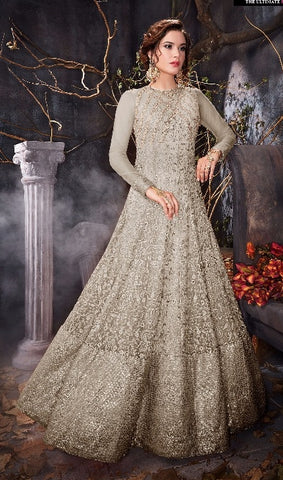 Grey  Gown Type Anarkali With Dupatta