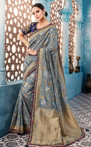 Bluish Grey Silk Party Wear  Saree With Blouse