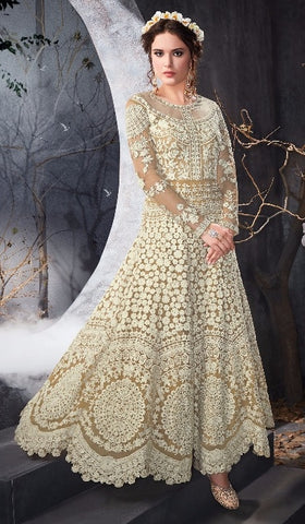 Beige Net Gown Type Anarkali With Dupatta
