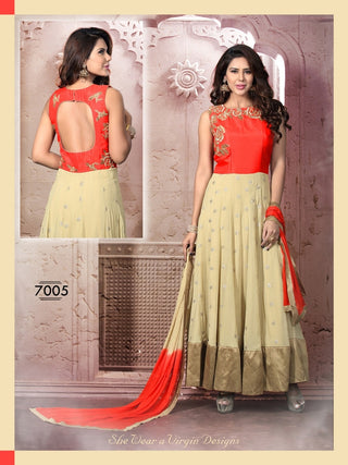 Red and beige anarkali floor length suits
