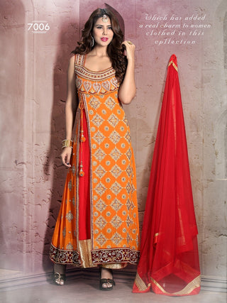 Orange and red designer anarkali floor length suits with red dupatta