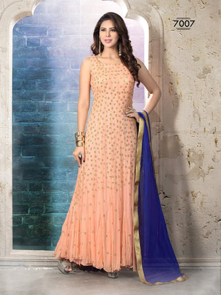 Peach frock anarkali suits with blue dupatta