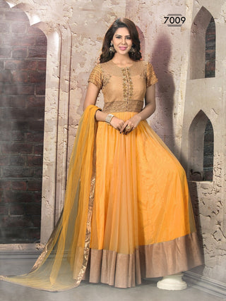 Orange heavy anarkali suits with net fabric