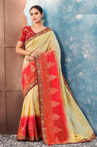 Beige&Red Silk Party Wear  Saree With Blouse