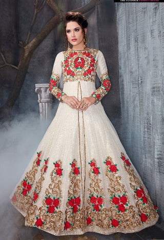Net White Gown Type Anarkali Suit With Dupatta