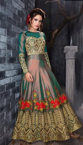 Green Silk Anarkali Suit With Dupatta