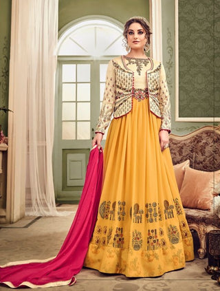 Yellow Beige Georgette Party Wear Anarkali With Dupatta