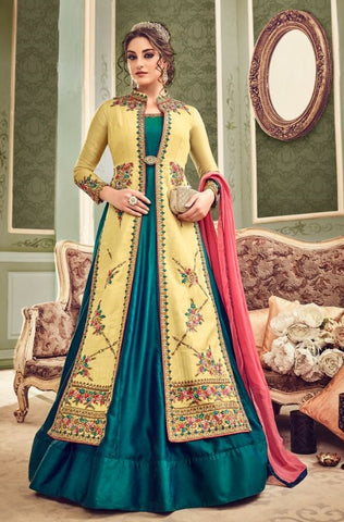 Cyan Yellow Silk Party Wear Anarkali Suit With Dupatta