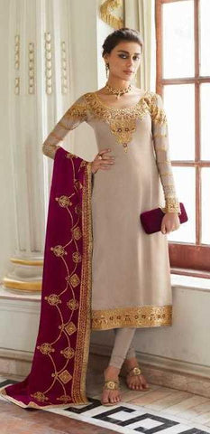 Light Grey Real Satin Georgette Party Wear Salwar Suit With  Dupatta