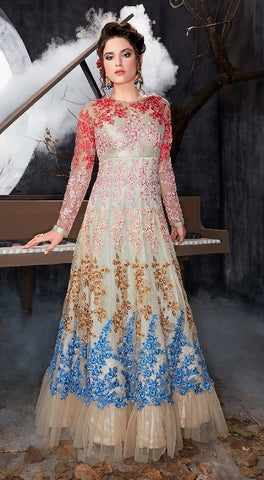 Net Anarkali Off White With Floral Embroidery With Dupatta