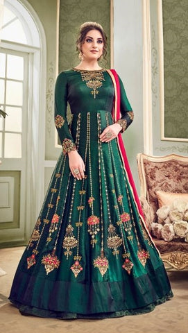 Dark Green Silk Party Wear Anarkali Dress With Dupatta