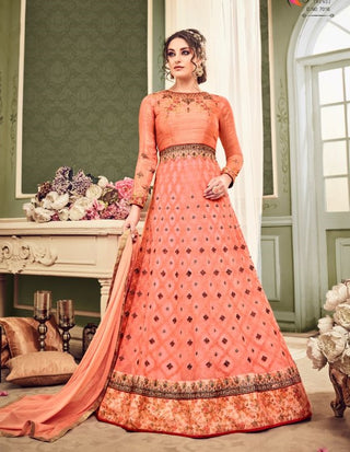 Peach Net Party Wear Anarkali With Dupatta