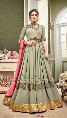 Beige Georgette Party Wear Anarkali Suit With Dupatta
