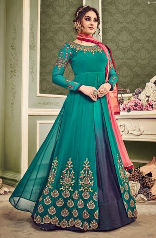 Green Georgette Party Wear Anarkali With Dupatta