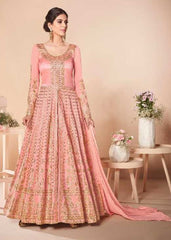 Peach Mulberry Silk Party Wear Anarkali With Peach Dupatta