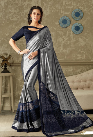 Blue Silver Lycra Party Wear Saree With Blue Blouse