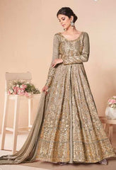 Greyish Golden Mulberry Silk Party Wear Anarkali With Greyish Golden Dupatta