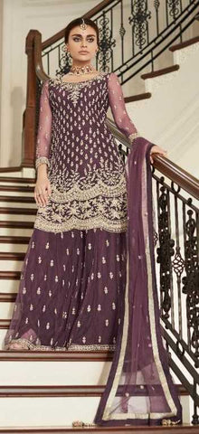 Wine Butterfly Net Party Wear Salwar Suit With  Dupatta