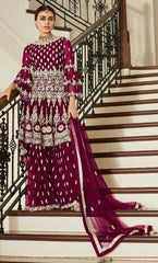 Maroon Butterfly Net Party Wear Salwar Kameez With  Dupatta